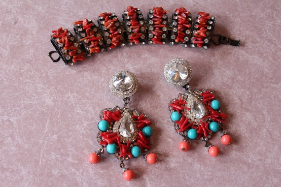 Lawrence VRBA Amazing Dimensional Coral Bracelet and Matching Earrings