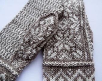 Hand knitted teens, woman fair isle mittens size S/M