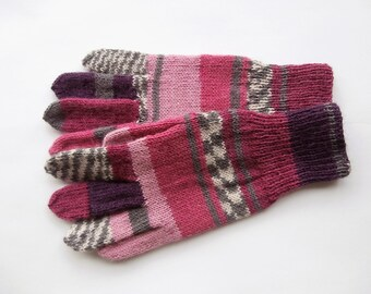 Hand knitted multicolored gloves, size M