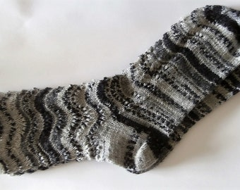 Hand knitted woman multicolor lace socks, size EU 40-41, US 8,5-9