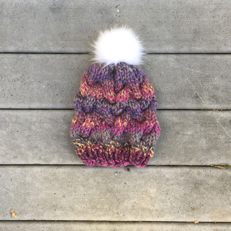 0680e75c738fd5 Pink and purple braided knit hat multi colored pom pom hat | Etsy