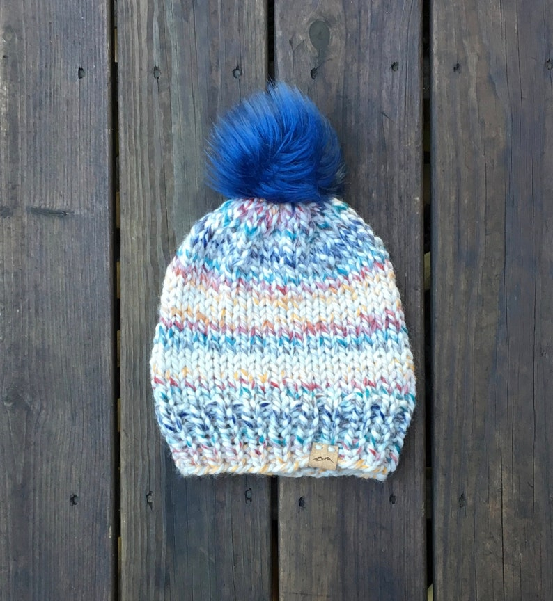 5b220120a9d Knit Hat Slouchy Pom Pom Hat Winter Hat Rainbow Beanie