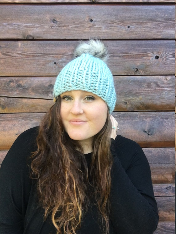 2b7bddc1bd3 Winter Hat Blue Pom Pom Hat Knit Hat Faux Fur Pom Pom Hat