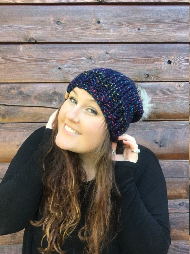 db52747e1df Knit Hat Slouchy Knit Beanie Winter Hat Pom Pom Hat