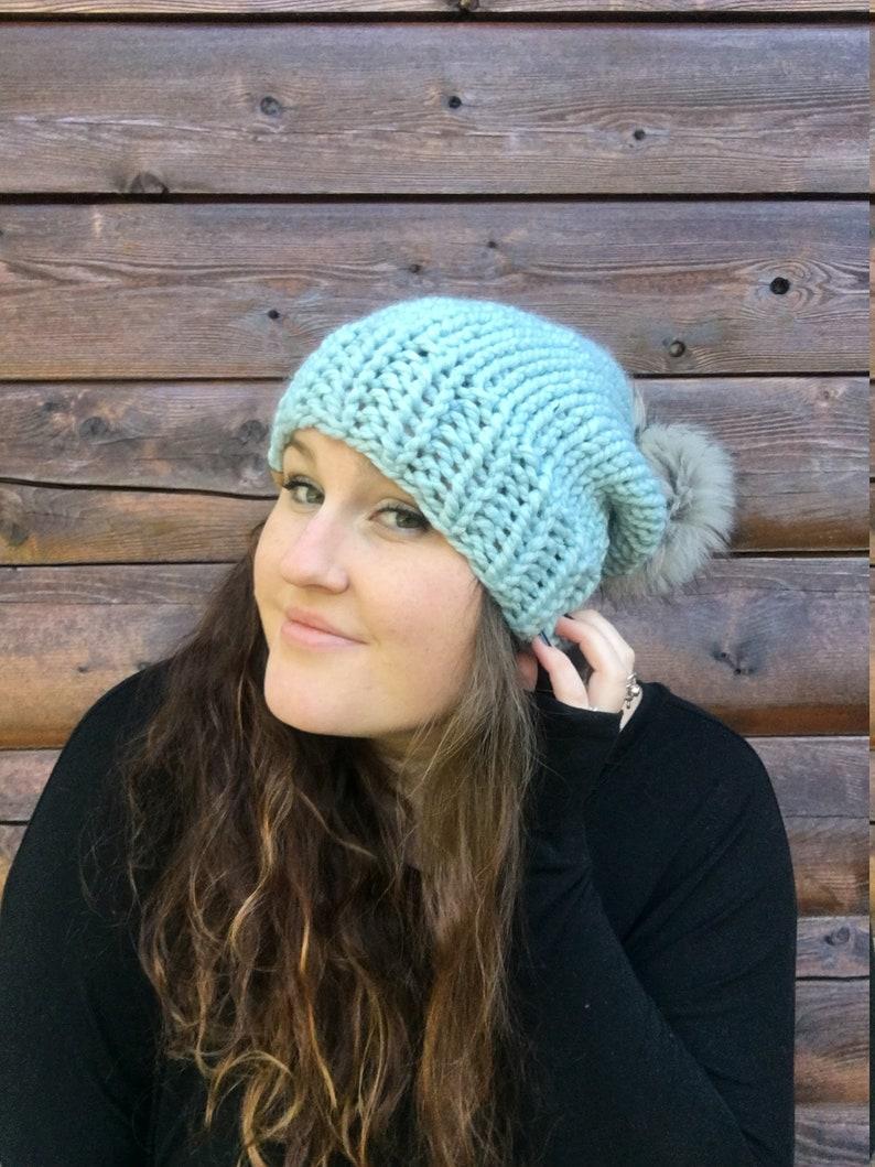 5808f17ca88 Slouchy light blue pom pom hat blue slouchy hat ice blue pom
