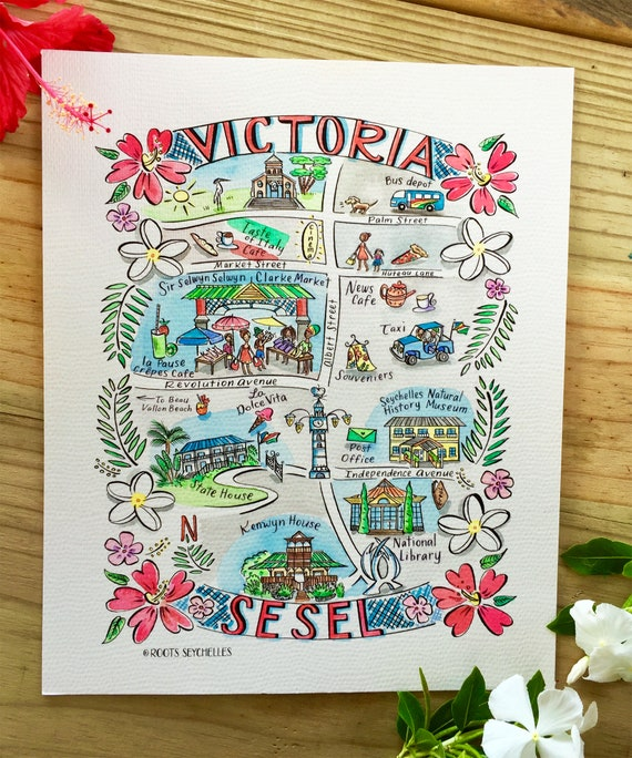 Illustrated Hand Painted Watercolor Map Of Seychelles Victoria Capital Of Seychelles