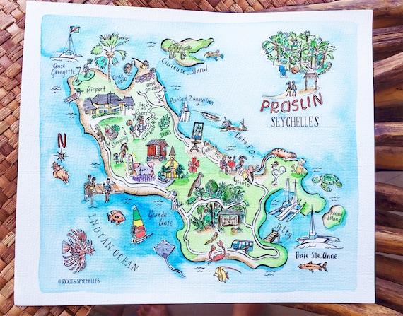 Mano Ilustrada Painted Acuarela Mapa De Isla De Seychelles Praslin