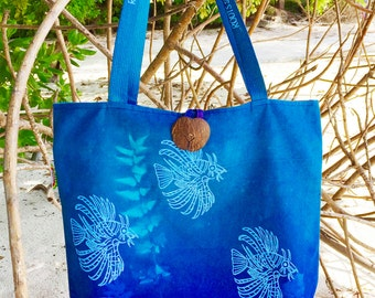 Hand Printed Lion Fish Tote Bag | Made in Seychelles | Turquoise