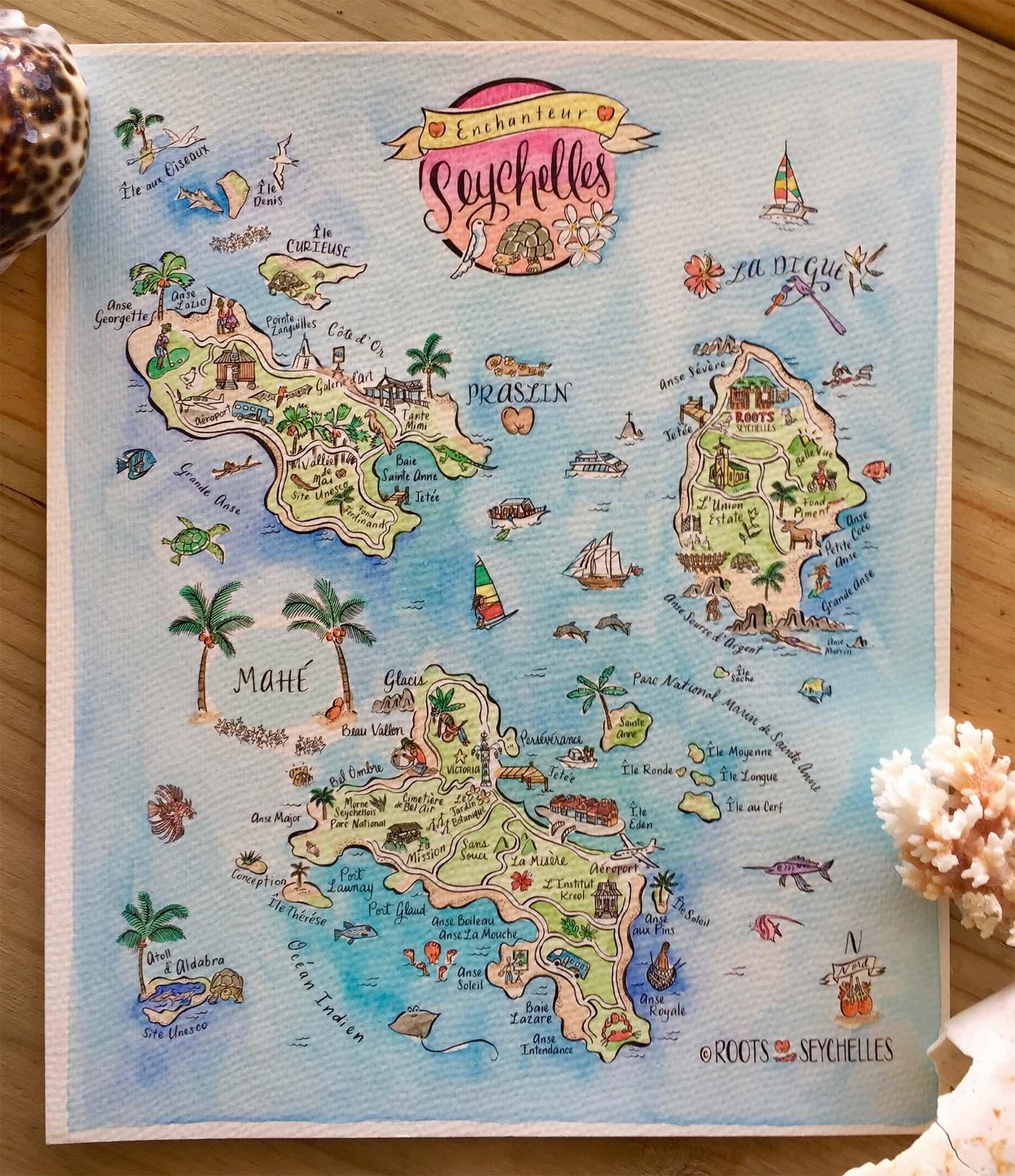 illustrierte handgemalte aquarell karte von seychellen etsy. Black Bedroom Furniture Sets. Home Design Ideas