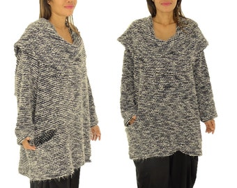 HR600GR sweater large size Boucle Gr. 42, 44, 46, 48, 50, 52 grey long sleeve tunic sweater