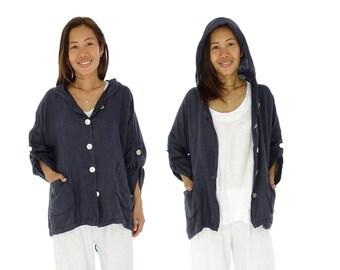HM100BL44 Women's jacket hood oversize used look gr. 42-44 Blue