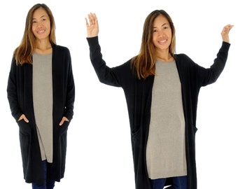 HR100SW jacket ladies Cardigan knit coat Verschlusslos Gr. 32-42 black