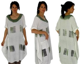 HK300GN Dress Tunic cream/green balloon dress batik Print cotton one size-portable size 40-44