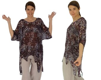 HP300ZB6 ladies blouse chiffon tunic layered look asymmetrical Gr. 36 - Eggplant