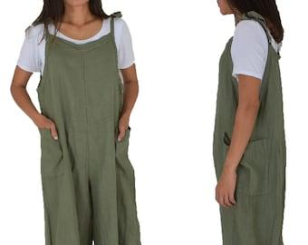 e9d398da1ea loose Linen pants LE600GN jumpsuit jumpsuit matching stray pants one size  size linen vintage layer look green