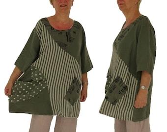 053549ad834de XXXL linen top IA500OL Women s blouse linen tunic oversize linen patchwork Plus  Size oliv Gr