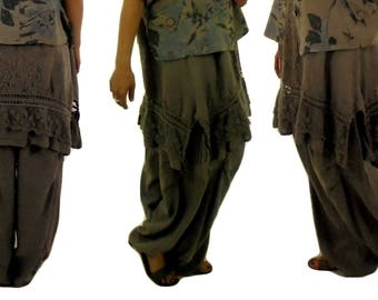 DY300TP48 trousers Megaweite Balloon pants gr. XXL linen vintage layered Look taupe gr. 48