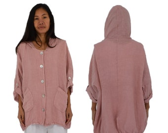 eda5e0f97621f Items similar to Women Plus Size Jacket Hooded Linen Jacket ...