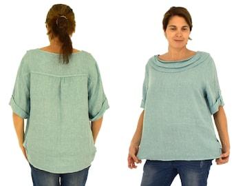 38 40 42 44 LA700BG women/'s blouse linen tunic linen striped one size beigewhite gr