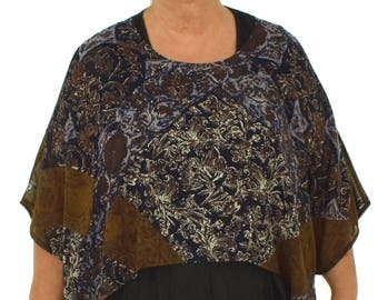 HZ200BR top cover layered chiffon between part gr. 38-48 Brown/Blue