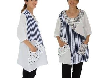 a8d55e1c94303 IA500W Women s Blouse linen tunic Oversize linen Patchwork Plus Size White  Gr