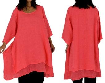 91f086b9d2f57 Large size linen blouse LA300KO Women s tunic linen material mix Longtunic  double layer vintage one size-size 44 46 48 50 52 coralle