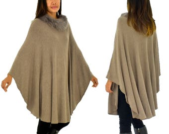 IG700TP poncho knitted Cape one size fur collar Gr. 38-54 taupe