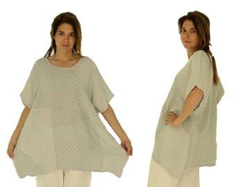 8fe8acc4298a7 Large size linen blouse HZ900GR Women s tunic oversize balloontunika  patchwork points stripes grey
