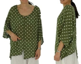 Shirt mit Kette Top Tunika Bluse Lagenlook Größe 46-54 one size rot geblümt w