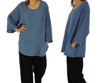 4536cc0e35f3f Plus Size linen Top IA900BL Women s tunic blouse linen vintage Gr. 46 48 50  52 wearable blue