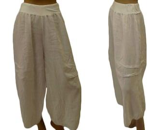 8f3176d77e9 White linen pants Plus Size DY300W48 pants mega-wide balloon pants Gr. XXL  linen vintage layer look white size 48