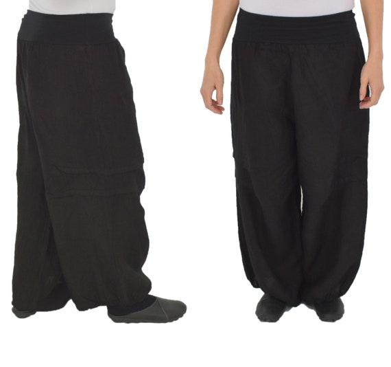bf8cf4c9752 Plus Size linen pants DY300SW48 pants mega-wide balloon pants