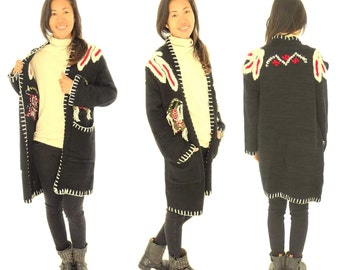 GR900 ladies jacket Cardigan hand knitted embroidered black size XS-L