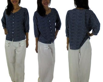 DP200BL blouse layered mori girls short blouse dots shorts cotton gr. S/meter Blue/White