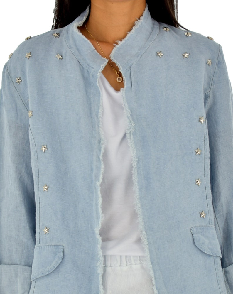 Linen Summer Jacket LE500HBL Women with Star and studded Clock One Size Linen Used Look Light Blue