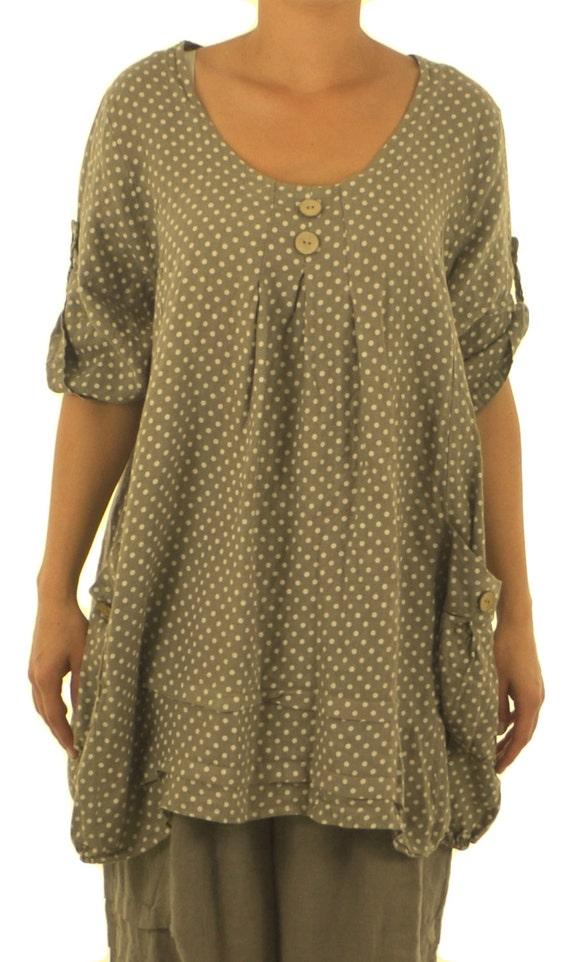 46 48 50 Portable Coral LA800KO women/'s tunic blouse linen vintage embroidery gr