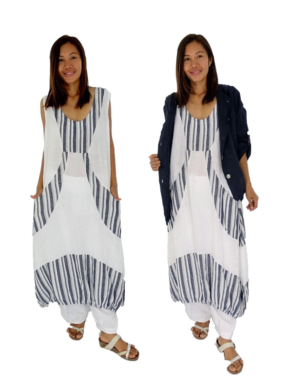große Größen Leinen Kleid HL500W Damen Ballonkleid Gr. 44 ...