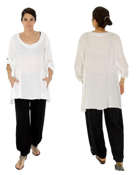 632728a4463cc HW100W Women s Tunic oversize blouse linen Vintage one