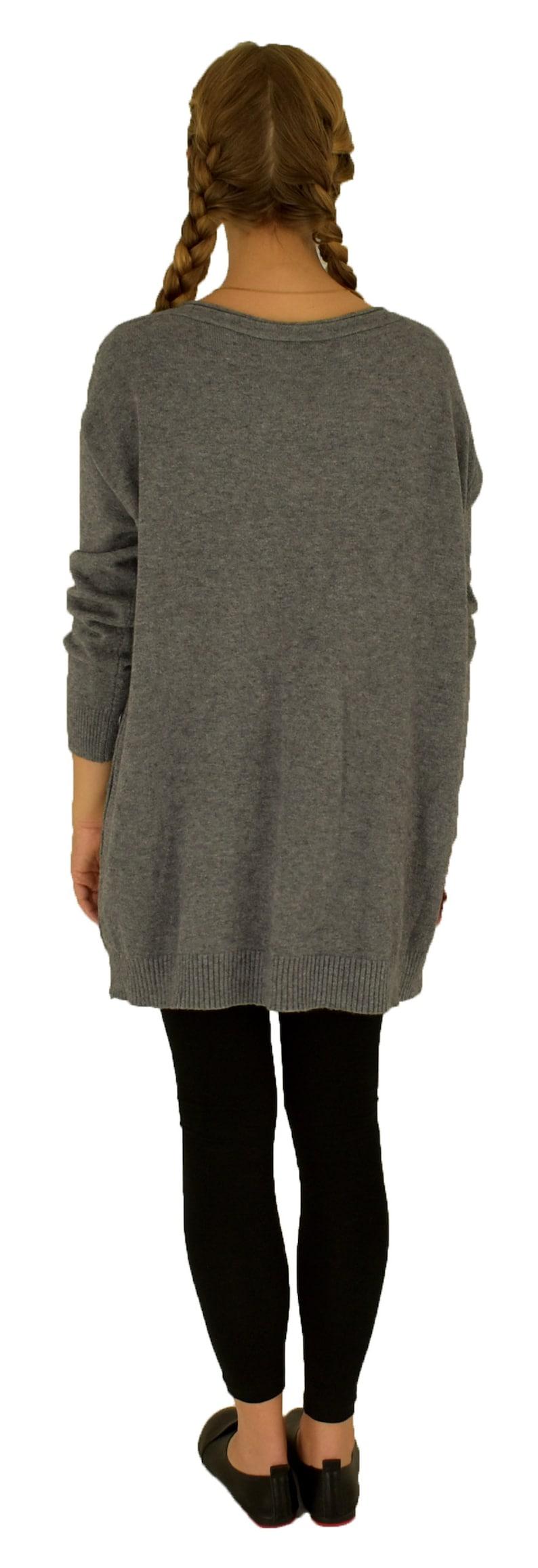 40 42 44 46 48 Plus Size Winter Sweater LH800GR Stricking Tunics one Size Women Gr M-XXL Grey Gr