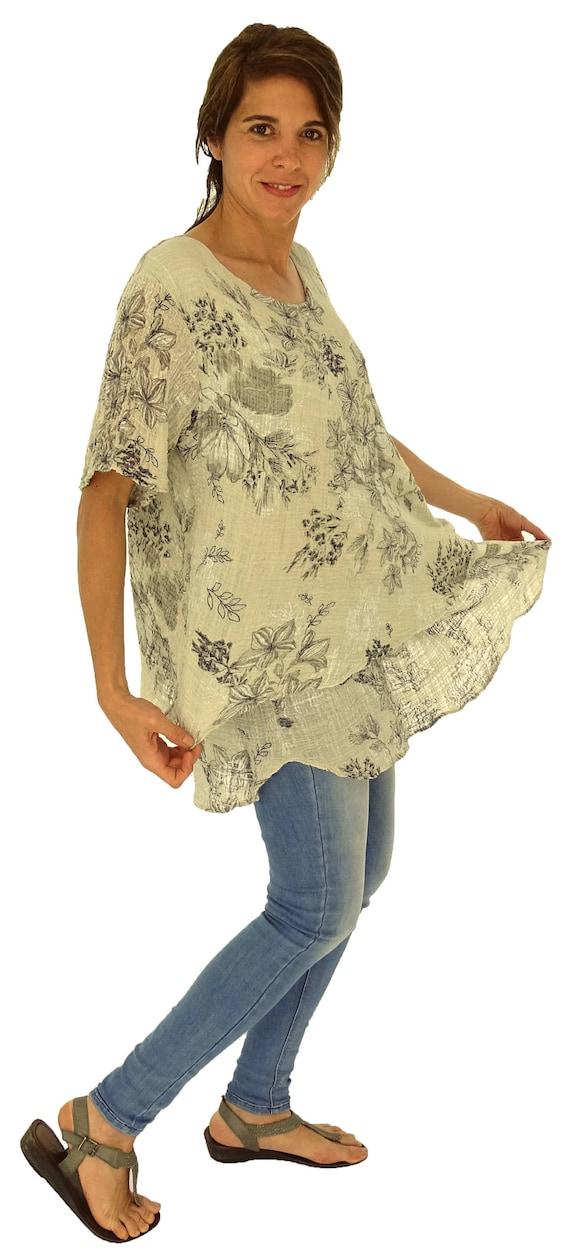 38fbb92834cd5 asymmetrical layer look top IC100BG Women s tunic floral