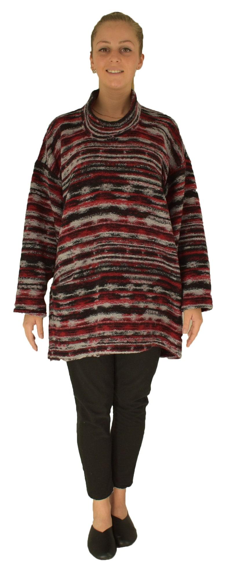 Warm Woll Sweater LJ100R Plus Size Gr 40-50 Red Black Grey Walkknit Top