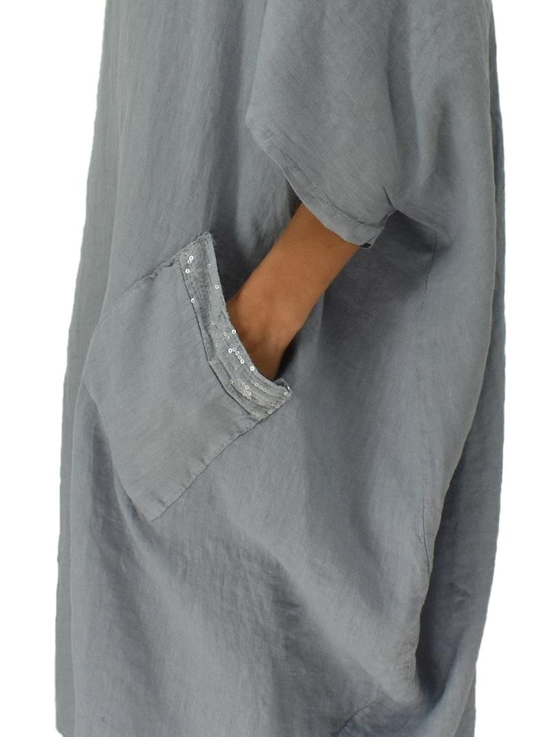 Large size tunic linen LA400GR Women/'s tunic balloon extrax vintage sequins size 50 52 54 wearable plus size grey