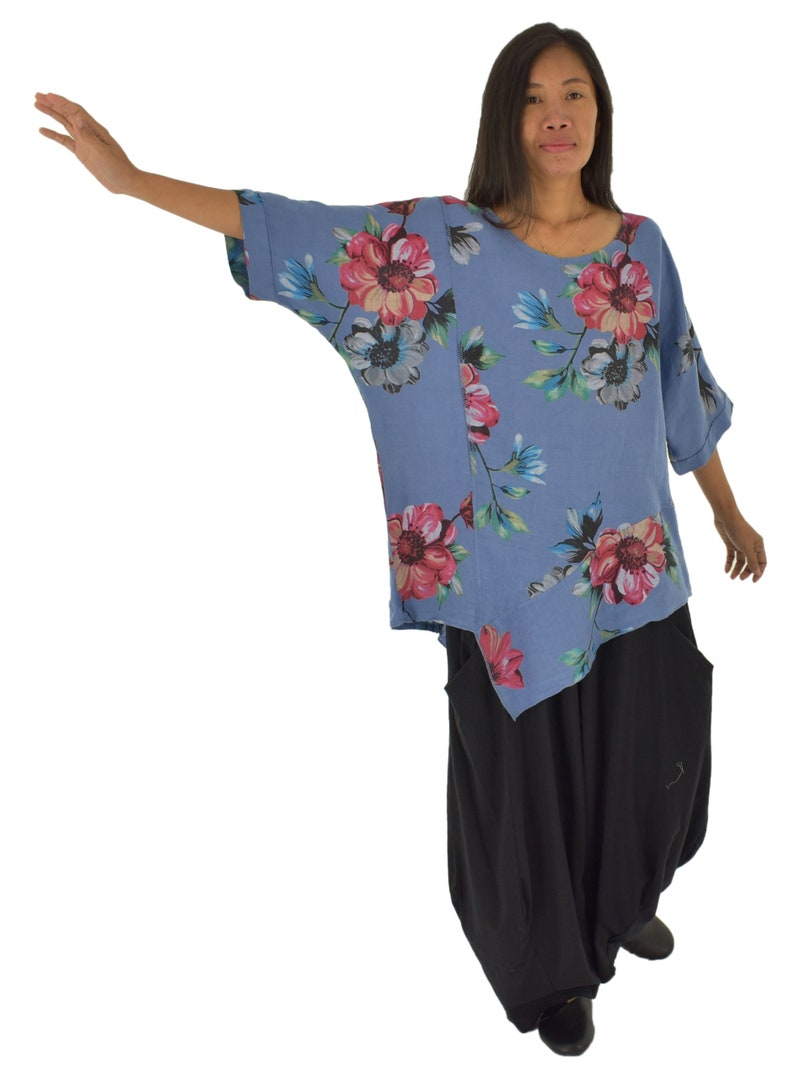 LE200MBL Women/'s Tunic Layer look boxy cut linen floral size 40-46 blue