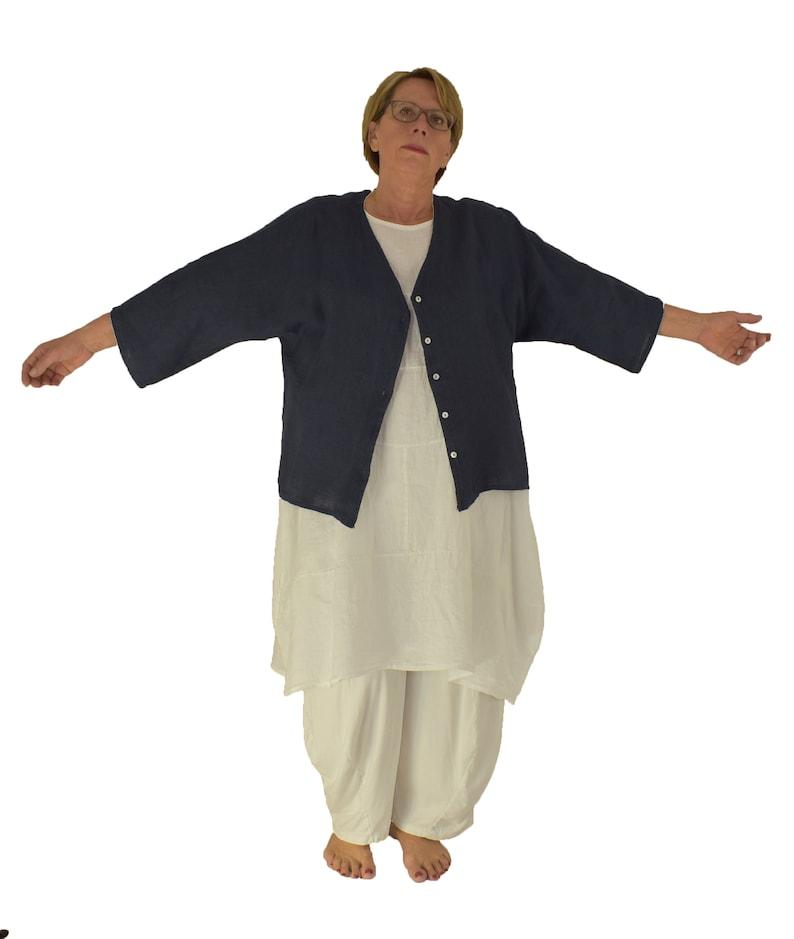 LM600DBL Women/'s jacket linen blouse short jacket one size castily cut layers look dark blue