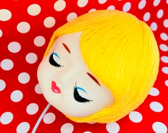 Vintage Pose Doll Head, Stockinette Doll Supply, Yarn Doll Head