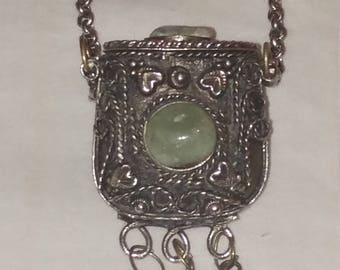 Moroccan pill box etsy uniquely beautiful vintage silvertone moroccan intricate genuine aventurine gemstone 32 inches long snuff locket pill box pendant necklace aloadofball Choice Image