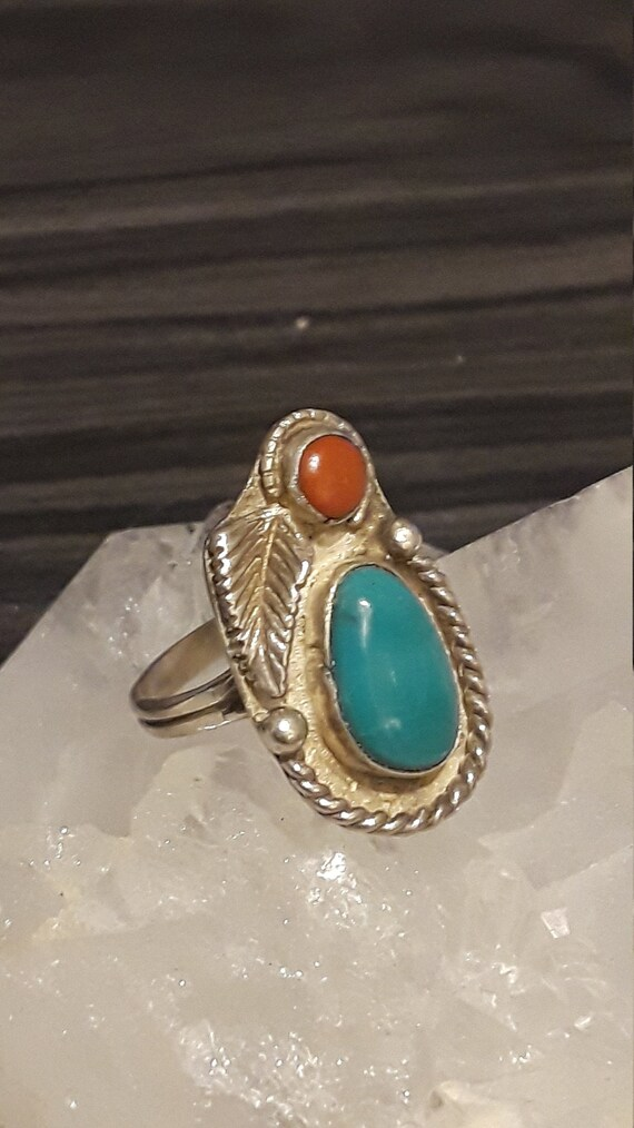 Red Coral Turquoise Size 6 12 Ring. Unisex Native American Bear Paw Design Vintage .925 Sterling Silver Woman/'s