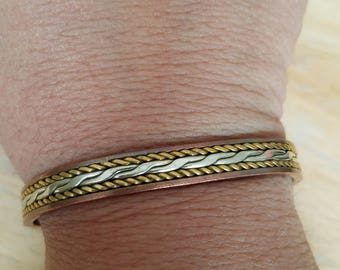 Vintage Copper Mixed Metals Cuff Bracelet