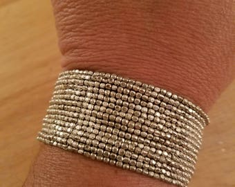 Vintage Silvertone Metal Plus Size 7 1/2 -8 Inch Wrist Mesh Cuff Bracelet