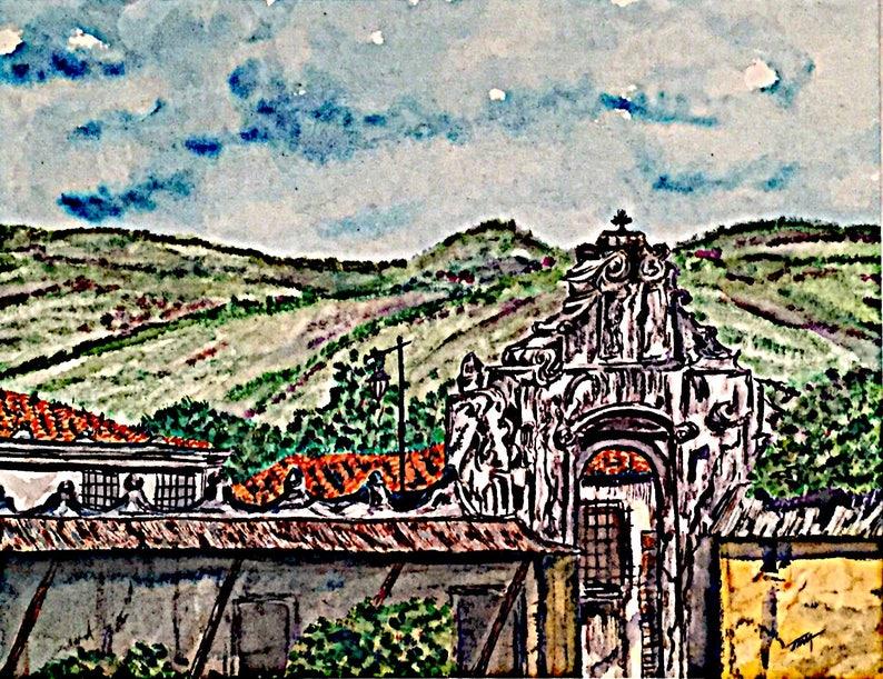 Iglesia De San Francisco El Grande Antigua Guatemala Side Gate Entrance Original Watercolor